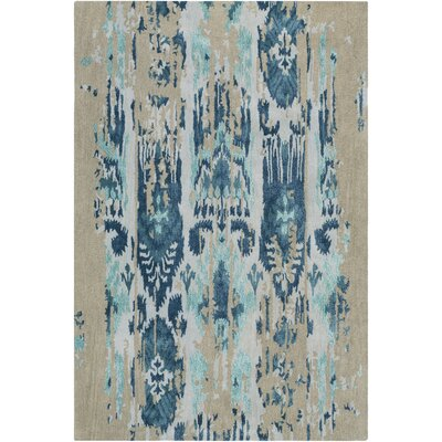 Corinne Hand-Tufted Teal/Navy Area Rug Rug Size: Rectangle 33 x 53