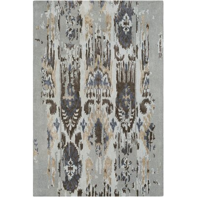 Corinne Hand-Tufted Light Gray/Navy Area Rug Rug Size: Rectangle 8 x 11