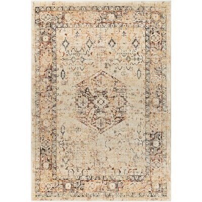 Gabrielle Burnt Orange/Beige Area Rug Rug Size: 53 x 76