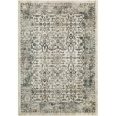 Gabrielle Medium Gray/Beige Area Rug Rug Size: 53 x 76