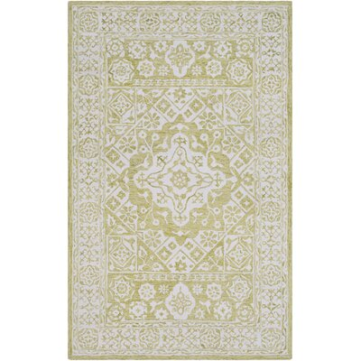 Pearson Hand-Hooked Lime/White Area Rug Rug Size: Rectangle 9 x 13