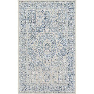 Pearson Hand-Hooked Pale Blue/Beige Area Rug Rug Size: Rectangle 5 x 76