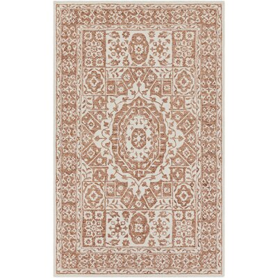 Heath Hand Hooked Burnt Orange/White Area Rug Rug Size: 33 x 53