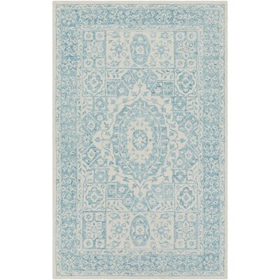 Pearson Hand Hooked Aqua/Beige Area Rug Rug Size: Rectangle 6 x 9