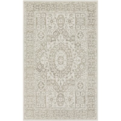 Pearson Hand Hooked Khaki/White Area Rug Rug Size: Rectangle 6 x 9
