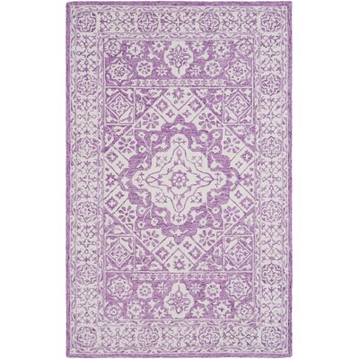 Rashida Hand Hooked Bright Purple/White Area Rug Rug Size: 6 x 9