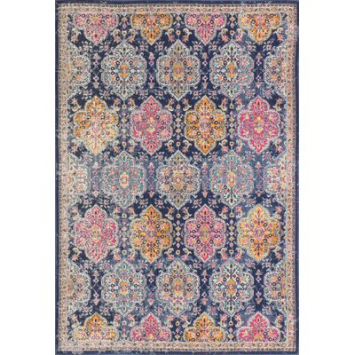 Ashburn Dark Blue/Orange Area Rug Rug Size: Runner 27 x 8