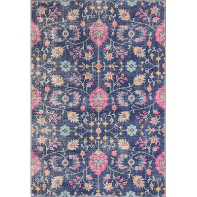 Ashburn Dark Blue Area Rug Rug Size: 5' x 7'7