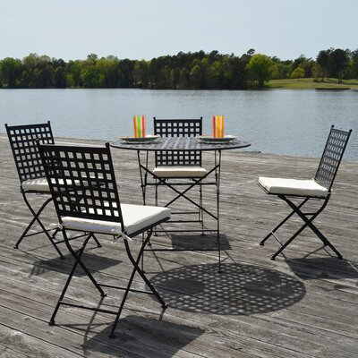 Emilio 5 Piece Bistro Set Finish: Black