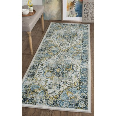 Tariq White/Blue Area Rug Rug Size: Runner 27 x 73