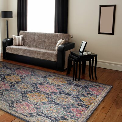 Fernand Dark Blue/Orange Area Rug Rug Size: 77 x 97