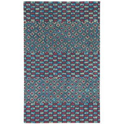 Lisbon Red/Blue Mosaic Area Rug Rug Size: Rectangle 8 x 11