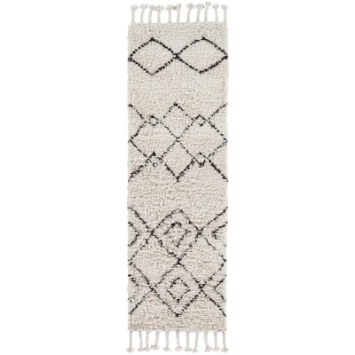 Royston Shag Hand-Woven Wool Cream Area Rug Rug Size: Runner 26 x 8