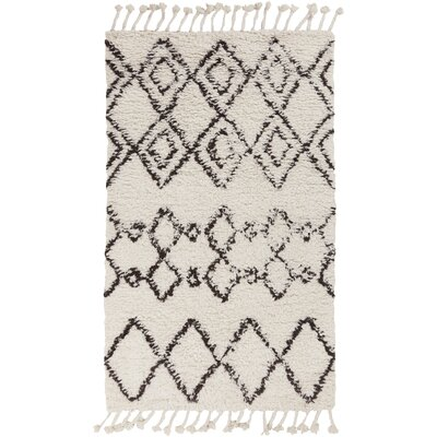 Royston Shag Hand-Woven Wool Cream Area Rug Rug Size: Rectangle 9 x 13