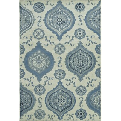 Birtha Blue/Ivory Area Rug Rug Size: 3'3