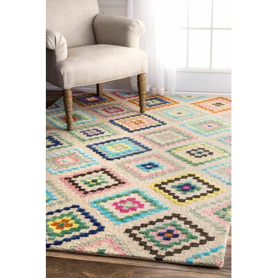 Escobar Hand-Tufted Beige/Blue/Green Area Rug Rug Size: Rectangle 4 x 6