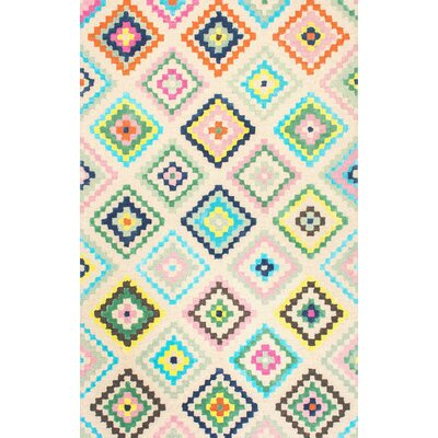 Audie Hand-Tufted Beige/Blue/Green Area Rug Rug Size: 5 x 8
