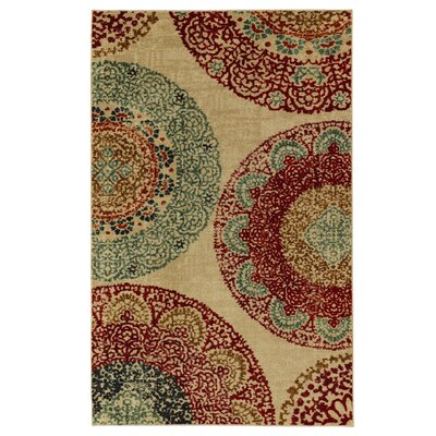 Lagouira Beige/Green Area Rug Rug Size: Rectangle 5 x 8