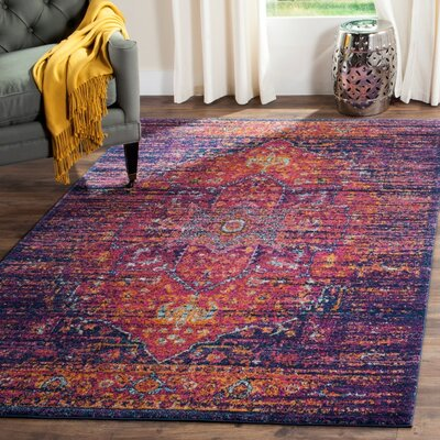 Elson Blue/Fuchsia Area Rug Rug Size: Rectangle 51 x 76