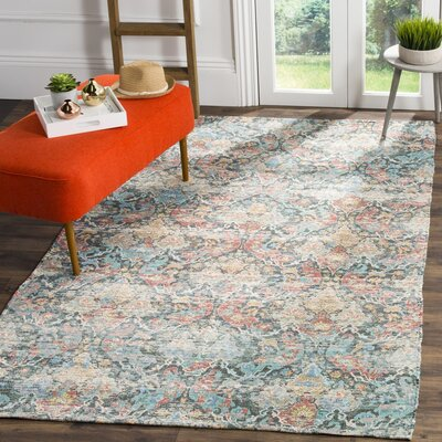 Amanda Hand-Loomed Coral/Aqua Area Rug Rug Size: Rectangle 4 x 6