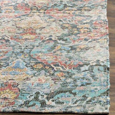 Amanda Hand-Loomed Coral/Aqua Area Rug Rug Size: Rectangle 4 x 6