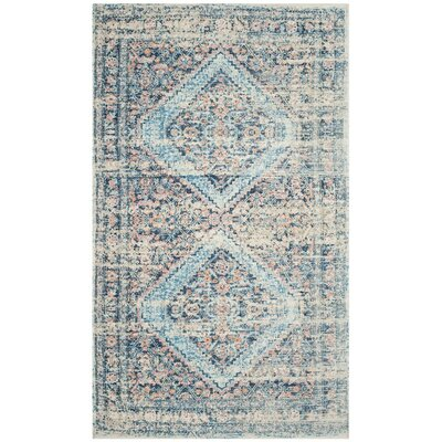 Myers Hand-Loomed Blue/Red Area Rug Rug Size: Square 6