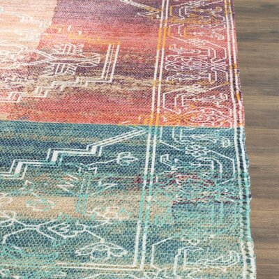 Amanda Hand-Loomed Coral/Aqua Area Rug Rug Size: Rectangle 5 x 8