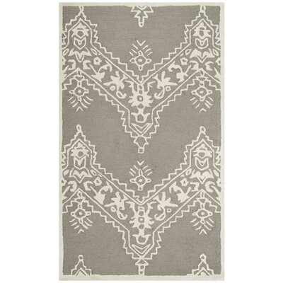 Nioka Hand-Tufted Gray/Ivory Area Rug Rug Size: Rectangle 5 x 8