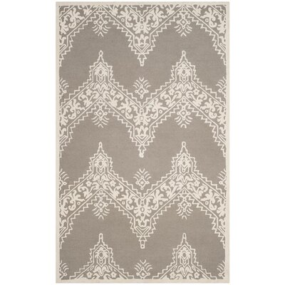 Anita Hand-Tufted Gray/Ivory Area Rug Rug Size: 5 x 8