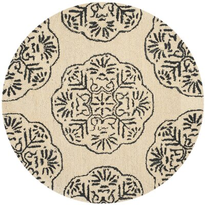 Rudra Ivory/Charcoal Area Rug Rug Size: Round 5