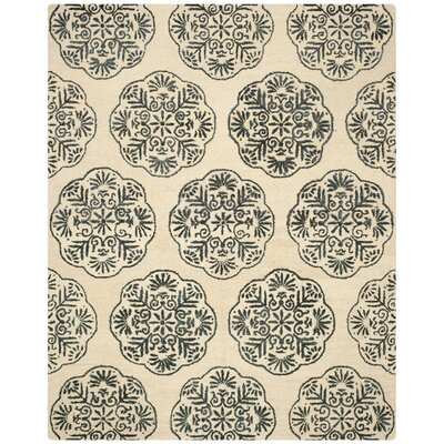 Rudra Ivory/Charcoal Area Rug Rug Size: Rectangle 3 x 5