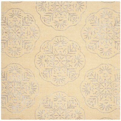 Rudra Beige/Silver Area Rug Rug Size: Square 6
