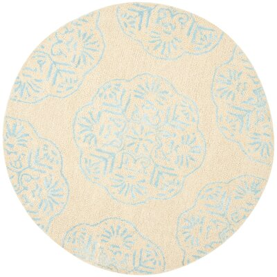 Rudra Beige/Turquoise Area Rug Rug Size: Round 5