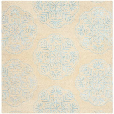 Rudra Beige/Turquoise Area Rug Rug Size: Square 6