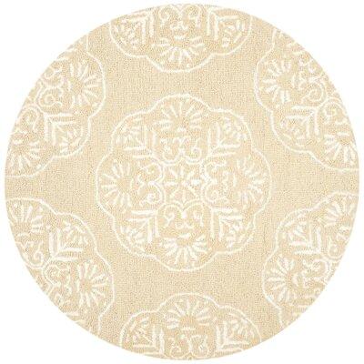 Rudra Beige/White Area Rug Rug Size: Round 5