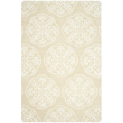 Rudra Beige/White Area Rug Rug Size: Rectangle 6 x 9