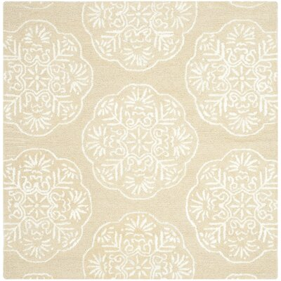 Rudra Beige/White Area Rug Rug Size: Square 6