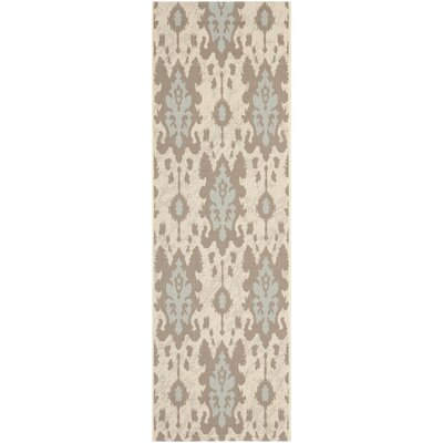 Amedee Beige Dark Beige/Aqua Weft Rug Rug Size: Rectangle 4 x 57