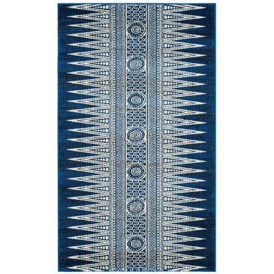 Elson Royal/Ivory Area Rug Rug Size: Rectangle 3 x 5