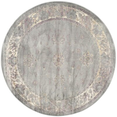 Makenna Grey/Multi Area Rug Rug Size: Round 6