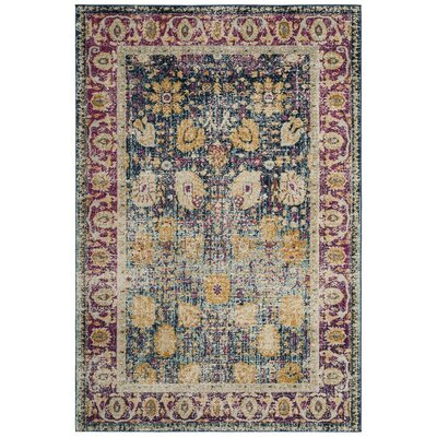 Melody Blue/Fuchsia Area Rug Rug Size: Rectangle 51 x 76