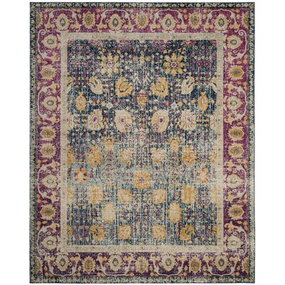 Melody Blue/Fuchsia Area Rug Rug Size: Rectangle 3 x 5