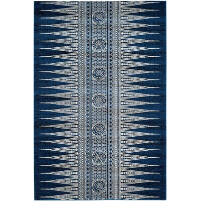 Elson Royal/Ivory Area Rug Rug Size: Rectangle 51 x 76