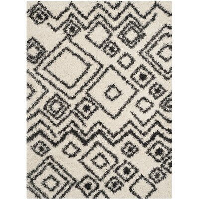 Messiah Ivory/Charcoal Area Rug Rug Size: 51 x 76