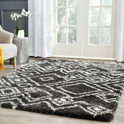 Malibu Charcoal / Ivory Area Rug Rug Size: Rectangle 23 x 5