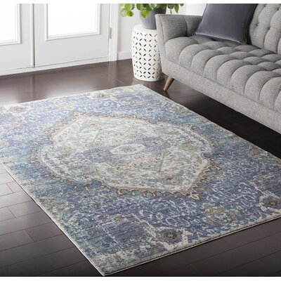 Fields Oriental Purple / Blue Area Rug Rug Size: 53 x 76