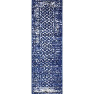 Woodrow Machine Woven Polypropylene Dark Blue Area Rug Rug Size: Runner 26 x 8