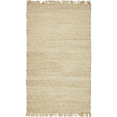 Teagan Hand-Braided Natural Area Rug Rug Size: 5 x 8