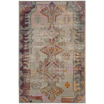 Jasper Light Gray/Purple Area Rug Rug Size: 4 x 6