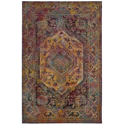 Florrie Teal/Rose Area Rug Rug Size: Rectangle 67 x 92